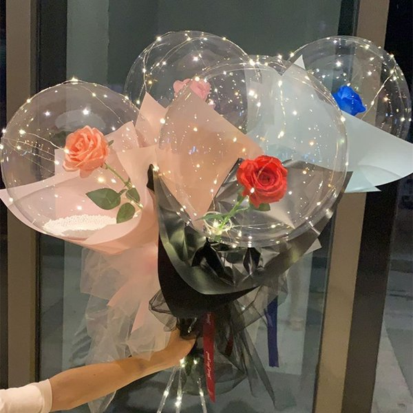 top popular LED Luminous Balloon Rose Flower Transparent Bubble Enchanted Rose LED Bobo Ball for 2021 Valentines Day Gift Party Wedding Decor E121801 2021