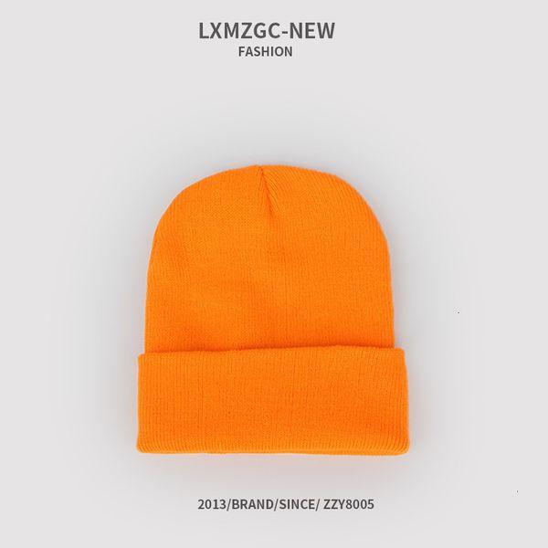 Sombrero de punto fluorescente - naranja