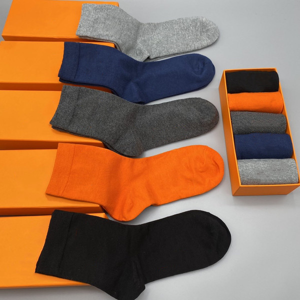 best selling Mens socks fashion Gentleman's formal socks mid-length wear-resistant soft men's and women's cotton sports garter boutique gift box 5 colors