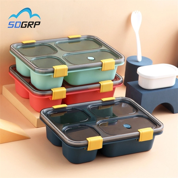 top popular 1300ml 850ml Healthy Plastic Lunch Box Snap Leak-Proof Microwave Dinnerware Bento Box Adults Kid Food Storage Container Lunchbox 201210 2021