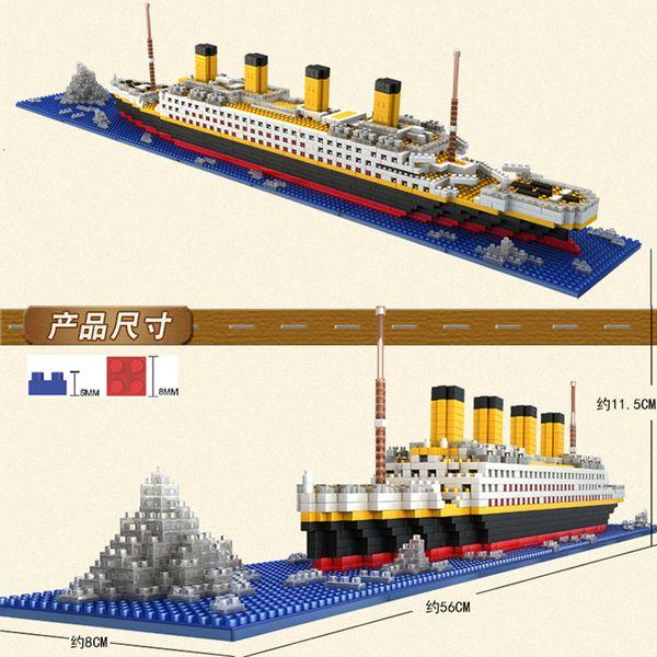best selling 1860 Dont match legoed RS titanic kits Model Cruise Ship Boat DIY Construction Diamond Mini Nanoed Blocks Kit Childrens Toy