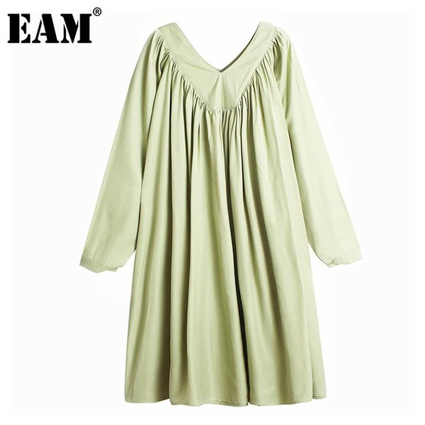 eam] women green pleated split joint big size dress new v-neck long sleeve loose fit fashion tide spring autumn 2020 1da139, Black;gray