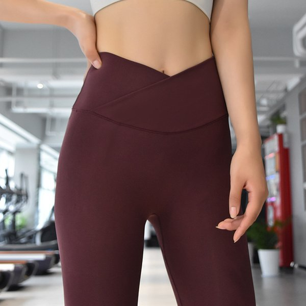 top popular Hot Sale! Spring New Nude Yoga Pants Women's High Waist Hips Running Tight Elastic Feet Sports Fitness Pants #dxp 2021