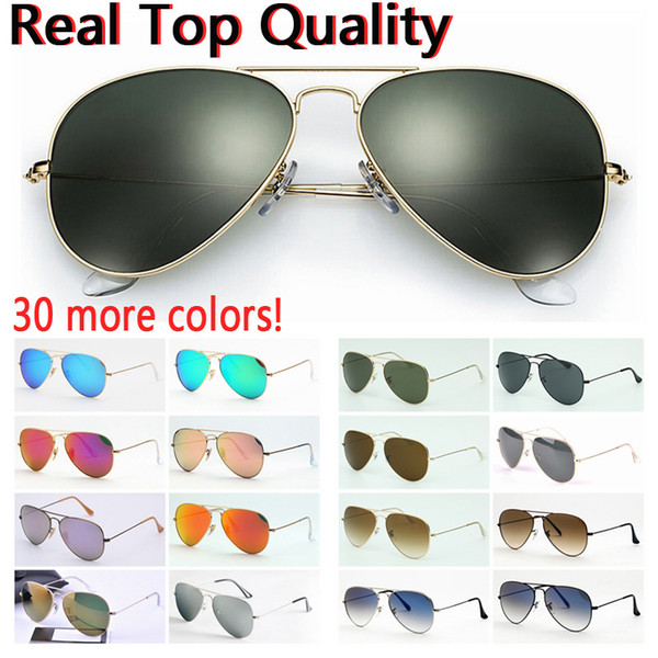 best selling designer sunglasses top quality aviation pilot sun glasses for men women with black or brown leather case, cloth, and retail accessories!