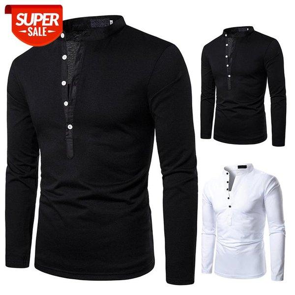 top popular Men T-shirt Men Shirt Long Sleeve T-shirt Solid Color Tops New Clothing Autumn Streetwear Casual Fashion #m74g 2021