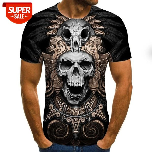 top popular New T-shirt Men's High Quality Men's and Women's T-shirt Skull Short Sleeve 3D Printing Horror Pattern #3Q9B 2021