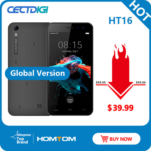 best selling Original NEW HOMTOM HT16 Smartphone Android 6.0 Quad Core MTK6580 5.0 Inch Full Screen 1GB RAM 8GB ROM 3G WCDMA Cell Phone