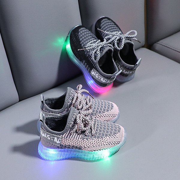 best selling New Children Mesh Shoes Boys Girls Lace up Sport Running Shoes Baby Lights Casual Sneakers Toddler Kids LED Sneakers