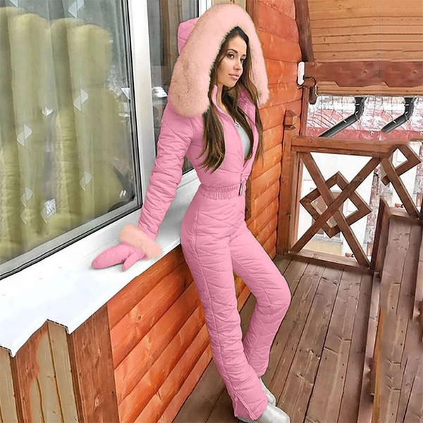 best selling Winter Women's Hooded Jumpsuits Parka Cotton Padded Warm Sashes Ski Suit Straight Zipper One Piece Casual Tracksuits 2020 New