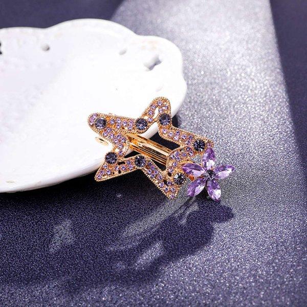 星星 发夹 6 公分 紫罗兰
