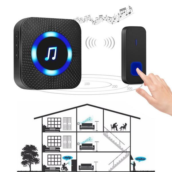 best selling 300M Wireless Door Bell Waterproof Battery Operated Loud Chime Doorbell Wireless Electronic Waterproof Houseware DC Doorbell