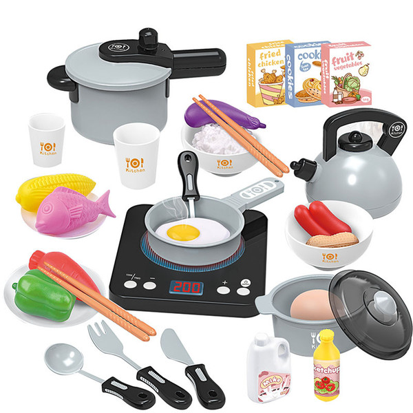 top popular Puzzle simulation induction cooker household appliances series children over the electric kitchen toys set lighting music gift 2021