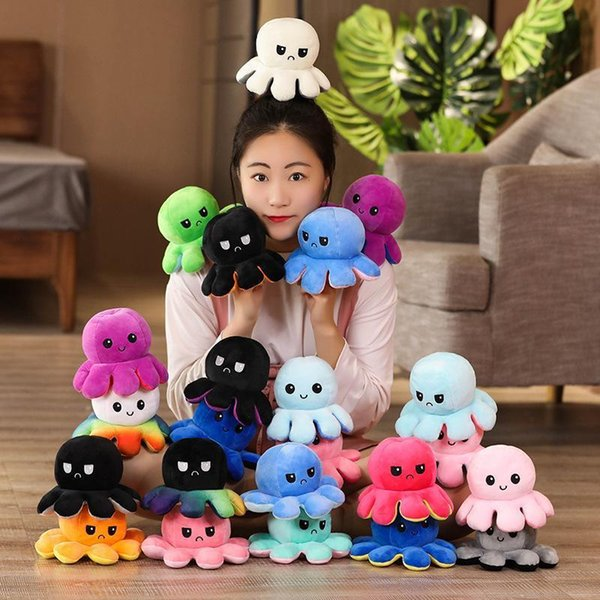 best selling 23 Styles Reversible Flip Octopus Stuffed Doll Soft Double-sided Expression Plush Toy Baby Kids Gift Doll New Year Festival Party Supplies