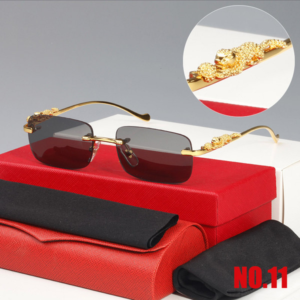 2021Classic Fashion Square Sunglasses Men Women Exquisite Cheetah Logo Optical Eyeglasses Small Leopard Silver Gold Metal Frames Unisex With Box
