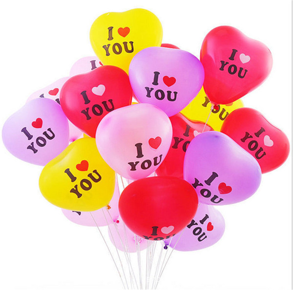 best selling 100pcs pack Heart Shape Balloon 12 Inch Valentines Day Decorative Balloon for Wedding Party I LOVE YOU Letters Balloons Supplies E122310