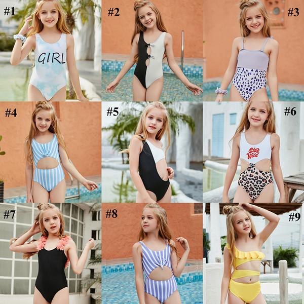 best selling Kid Swimwear Little Child Girl Swimsuit Bikini Bathe Letter Print Leopard Tie Dye Baby Swim Wear Suit