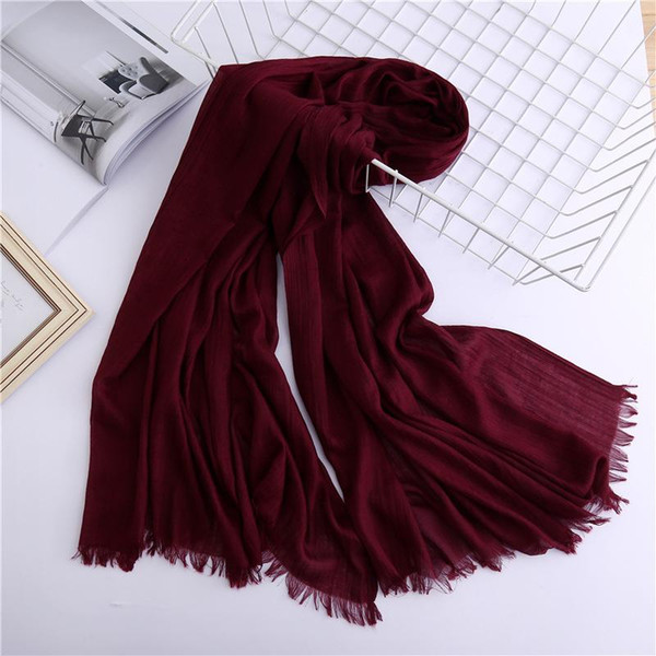 top popular 2020 vintage solid women scarf spring winter lady shawls and wraps cotton head scarves female hijab sunsreen stoles 2021