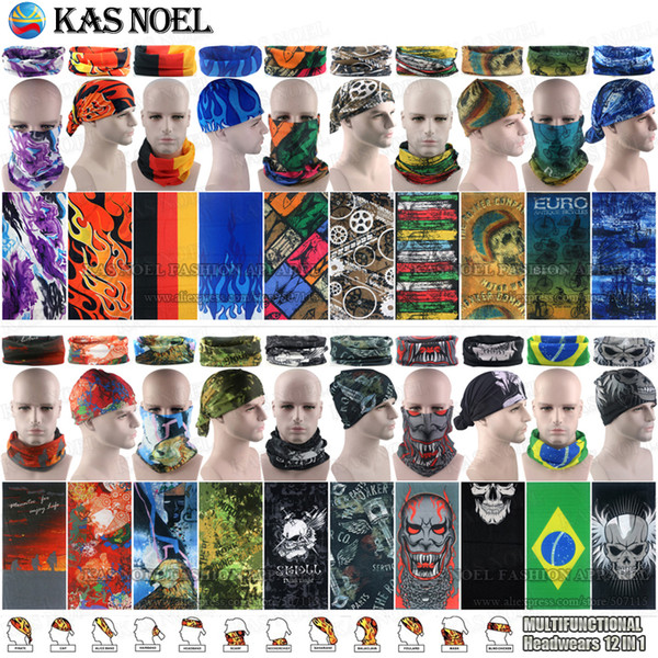 best selling 100pcs lot Wholesale Assorted Styles Microfiber Outdoor Sport Mask Magic Face Bandanas Tubular Multifunctional Seamless Wear Neck Gaiter