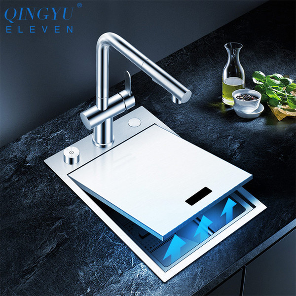 best selling Handmade Brushed kitchen Sink 304 Stainless Steel 4mm Thickness Above Mount Installation Cover hidden Single Kitchen Bar Sink