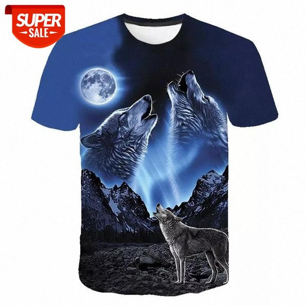 top popular Summer T shirt Men Streetwear Round Neck Short Sleeve Tees Tops Funny Animal Male Clothes Casual Wolf 3D Print Tshirt #sR97 2021