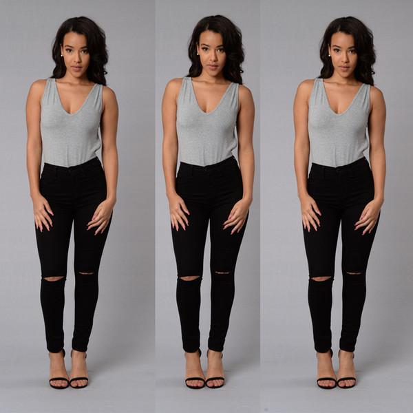 best selling New Fashion Womens Destroyed Ripped Slim Denim Pants Boyfriend Jeans Trousers Stylish Womens Long Skinny Hole Jeans