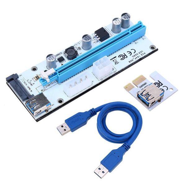 best selling Riser Card 008s VER008S 3 in 1 Molex 4Pin SATA 6PIN PCIE PCI-E PCI Express Adapter 1X 16X USB3.0 Extender Mining Miner