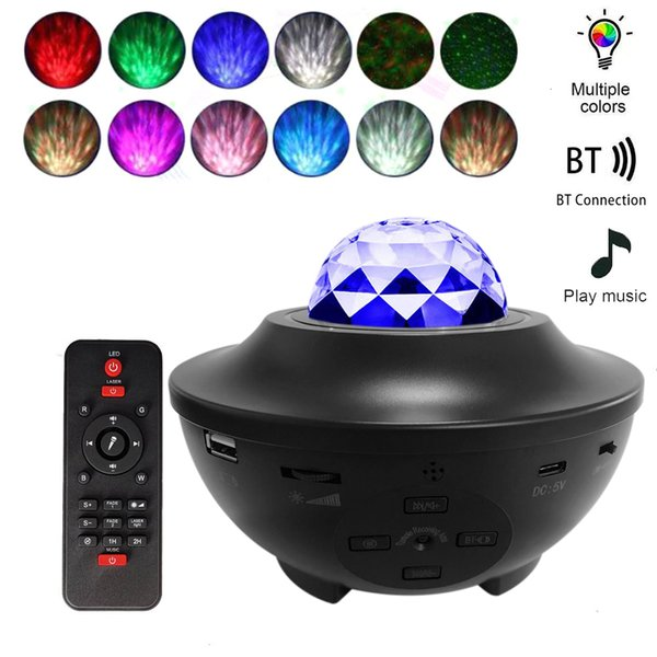 top popular 2021 New Usb Star Night Music Starry Water Wave Led Blueteeth Sound-activated Projector Light Decor Iche 2021