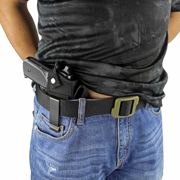 best selling pistol Nylon holster with metal clip and magazine slot, can be hidden on the inside or outside of the belt, adjustable left and rig