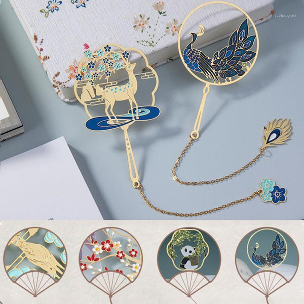 top popular Retro Brass Metal Bookmark Peacock Panda Pendant Tassel Hollow Book Clip Pagination Mark Chinese Style Stationery Supplies Gift1 2021