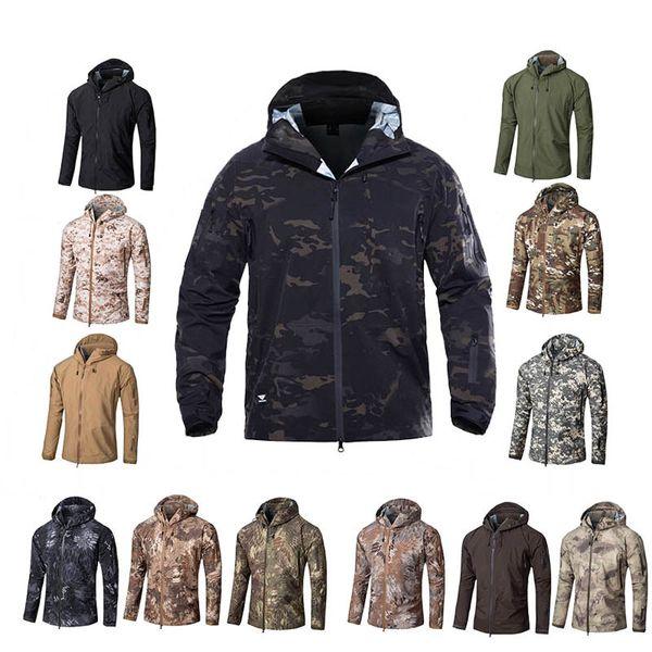 top popular Outdoor Clothing Woodland Hunting Shooting Coat Tactical Combat Clothing Camouflage Windbreaker Hardshell Outdoor Hoody Jacket NO05-205 2021