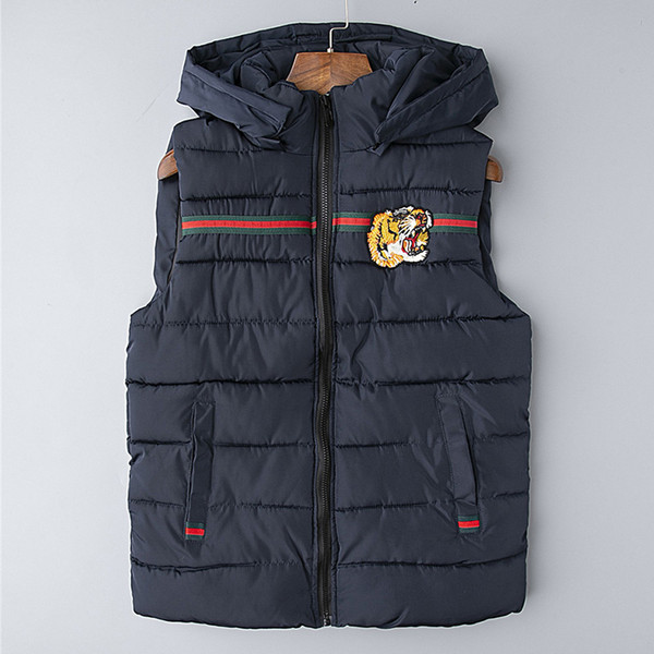 top popular Embroidery tiger Men's Vests Down Jacket Mens Outdoor Warm Feather Winter Jacket down-filled Hooded Thick Coat Outwear Jacket Parka M-3XL 2020