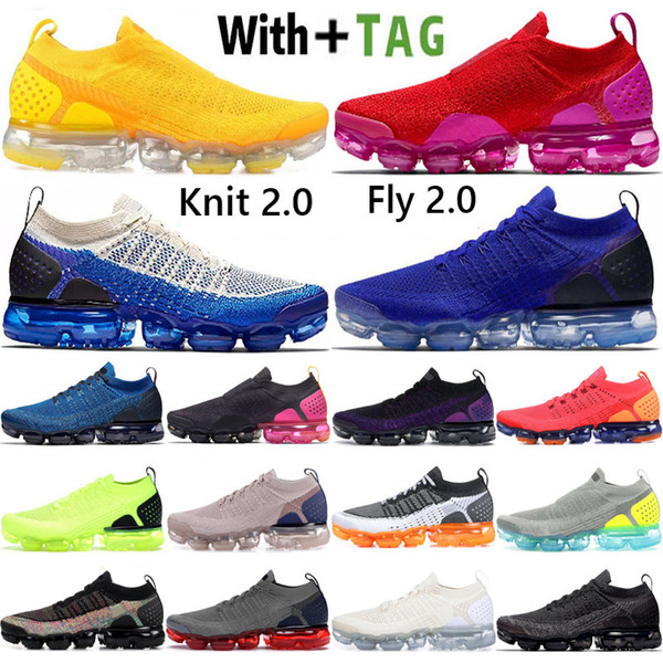 best selling 2021 Top Quality Cushion Knit Moc Fly 2.0 Mens Running Shoes Red Fuchsia Racer Blue Diffused Taupe Women Sneakers Trainers Size 36-45