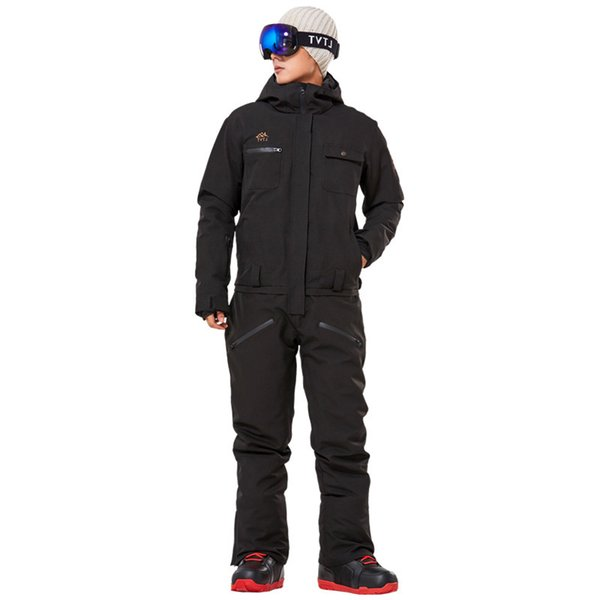 top popular New Winter Ski Suit Men One Piece Snow Jumpsuit Women Mountain Skiing Waterproof Thick Warm Snowboard Jackets Snowboarding Pants 2021