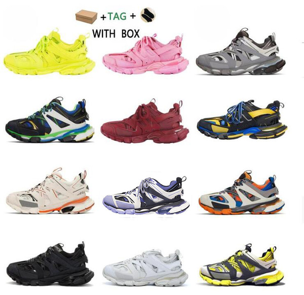 top popular 2021 New Cheap Paris 3.0 Track s Triple s Clunky Sneakers Grey Beige Orange Blue Update Version Designer Sport Sneaker Size 36-45 2021