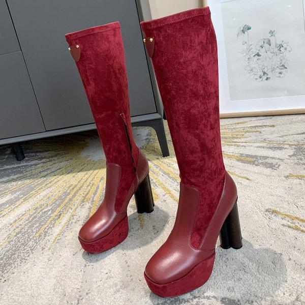 Borgoña Muslo-Altas botas