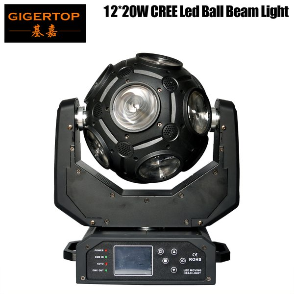 best selling Freeshipping Gigertop 12x20W Led Moving Head Beam Light Universal Ball Beam Light RGBW 4in1 Cree with Hooks 21 Channel