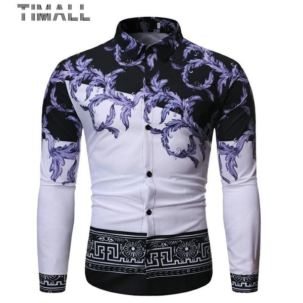 timall fashion stitching design simple casual color matching lapel men's long-sleeved flower shirt chemise homme social men, White;black