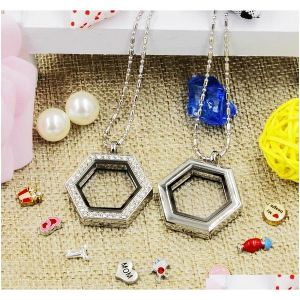 best selling Hot Selling Novelty Hexagon Heart Magnetic Crystal Diy Floating Memory Living Locket Pendant Gift For Girls Women Daughter With Prskl
