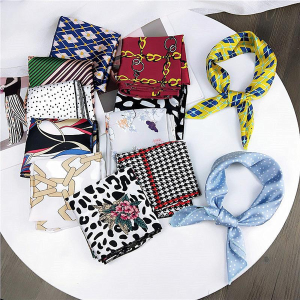 best selling Female Square Scarves Cotton Silk Leopard Dots Geometric Printing Headband Red White Bandana Women Handkerchief Hair Band Scarf