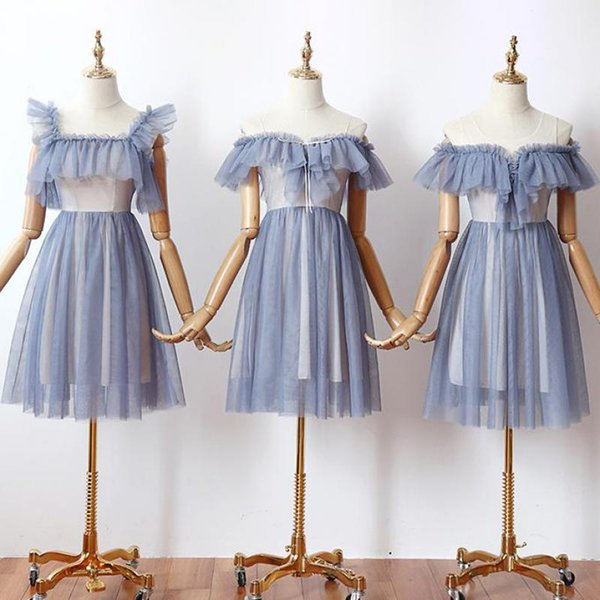 new design Sleeveless V-neck Above Knee Mini A-line Tulle Sleeveless Contrast Color blue Cocktail Dresses Cocktail Dress Party