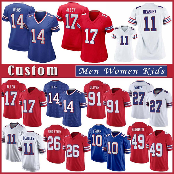 top popular 17 Josh Allen 14 Stefon Diggs Custom Men Women Kids Football jersey 11 Cole Beasley 49 Tremaine Edmunds Devin Singletary Jim Kelly 27 White 2021