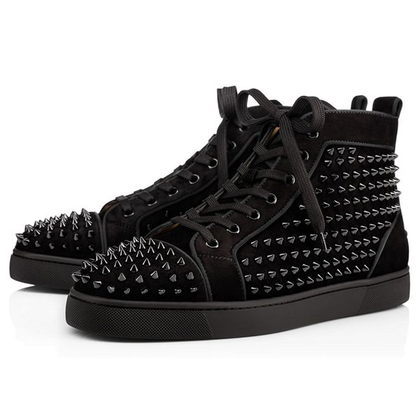 Black Suede Studded Spikes