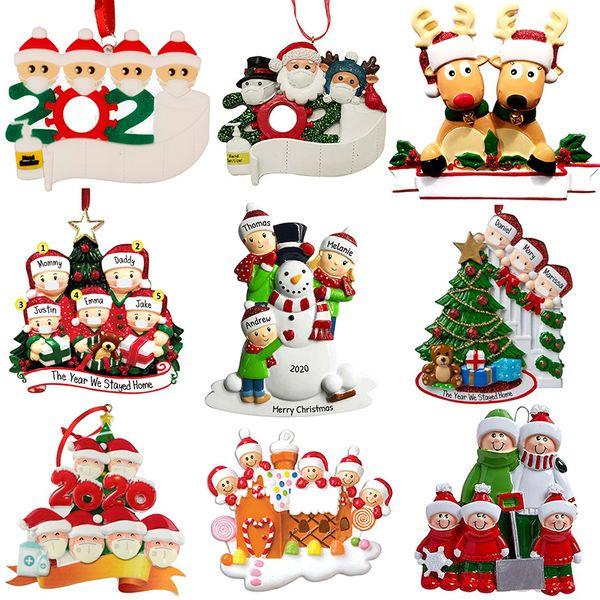best selling New Christmas Personalized Ornaments Survivor Quarantine Family 2 3 4 5 6 Mask Snowman Hand Sanitized Xmas Decorating Creative Pendant Toys