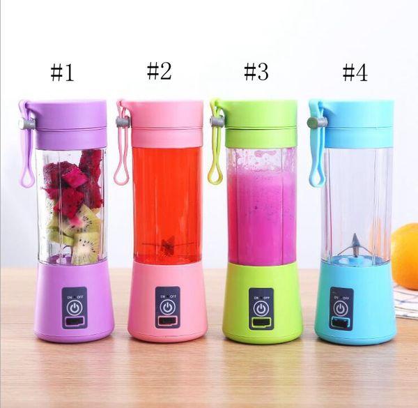 top popular 380ml Personal Blender Portable Mini Blender USB Juicer Cup Electric Juicer Bottle Fruit Vegetable Tools Six blades EEA284 2021