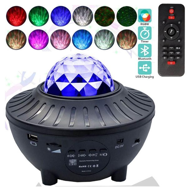 top popular 2021 New Colorful Led Starry Sky Ocean Wave Rotating Bluetooth Music Player Laser Projection Night Lights for Kids Baby T6fh 2021