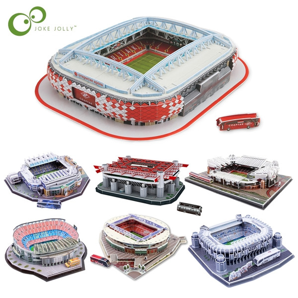 top popular DIY 3D Puzzle Jigsaw World Football Stadium European Soccer Playground Assembled Building Model Puzzle Toys for Children GYH Y200413 2021