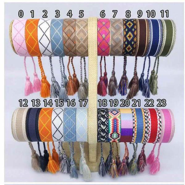top popular Adjustable femme cotton woven Bracelets Lovers Bracelet Embroidery Tassel For Women men Rope Bracelet&bangle friendship Jewelry 2021