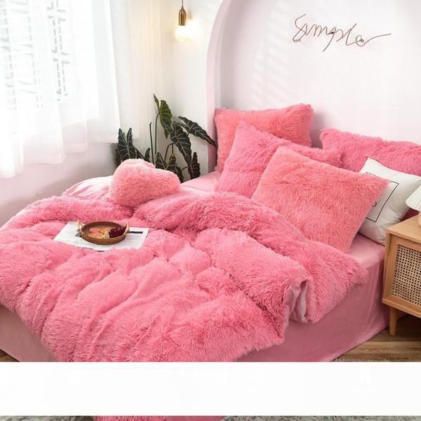top popular Solid Color Winter Thickened Long Wool Mink Fur Four-Piece Set Warm Milk Fiber Quilt Cover Bed Sheet Crystal Velvet Bedding Wholesale 2021