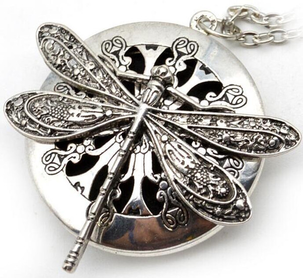 top popular Dragonfly Design Lockets Vintage Essential Oil Diffuser Necklace Aromatherapy Lockets Pendant ps2831 2021
