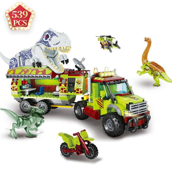 top popular MOC Jurassic Park Of World Christmas Toys Dinosaurs Tyrannosaurus Indominus Rex Building Blocks Bricks Toys Kids Gift X0102 2021
